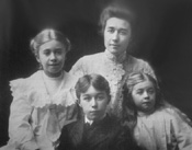 Clara Phillips Curtis, wife of Edward S. Curtis, and three of their children: Beth, Harold and Florence, circa 1901.